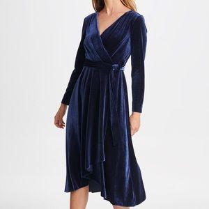Navy Blue velvet DKNY wrap dress